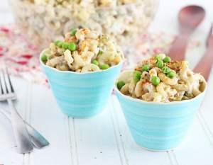 creamy tuna macaroni salad in small blue serving bowls