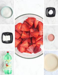 strawberry pie ingredients including sugar, cornstarch, 7-up soda, sliced strawberries, salt, strawberry gelatin and one pie crust