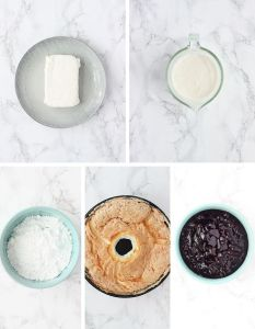 blueberry icebox cake ingredients include softened cream cheese, heavy cream, powdered sugar, angel food cake and blueberry pie filling