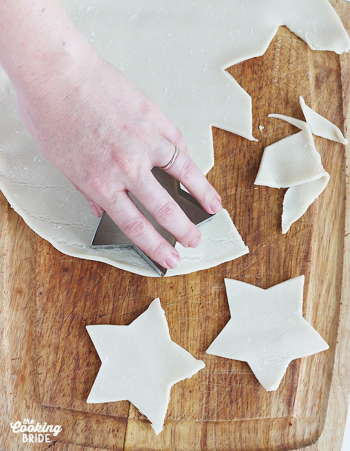 cutting the pie crust into star shapes
