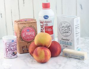 peach cobbler ingredients include four large peaches, baking powder, all-purpose flour, milk, granulated sugar and one stick of unsalted butter