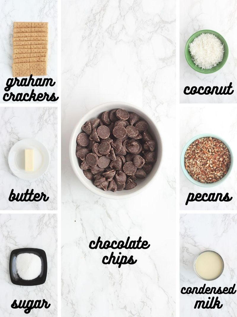 Hello Dolly Bar ingredients include graham crackers, butter, sugar, chocolate chips, coconut, pecans and condensed milk