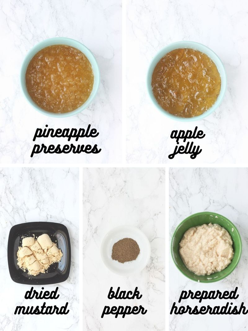Jezebel sauce ingredients include pineapple peserves, apple jelly, dried mustard, black pepper and prepared horseradish