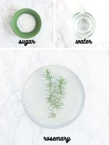 rosemary simple syrup ingredients include sugar, water and rosemary sprigs