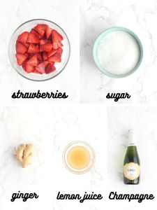 strawberry champagne cocktail ingredients include strawberries, sugar, ginger, lemon juice and champagne