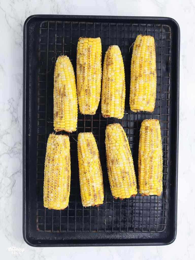 roasted corn on a baking sheet