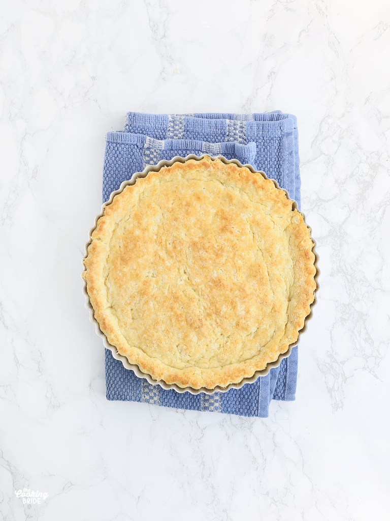 baked buttermilk biscuit crust in a tart pan