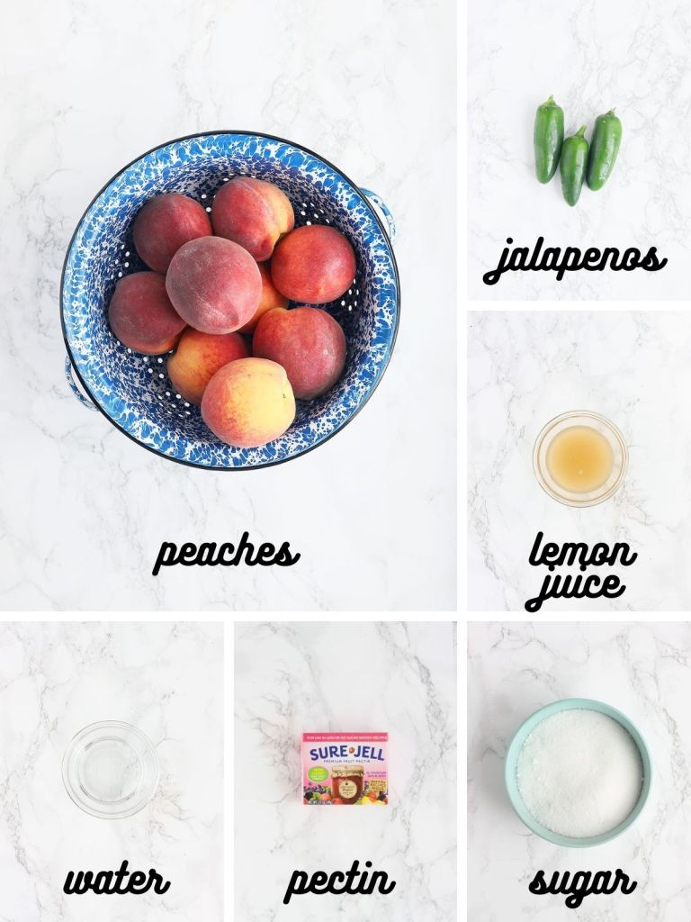peach jalapeno jam ingredients include peaches, jalapeno peppers, lemon juice, water, pectin and sugar