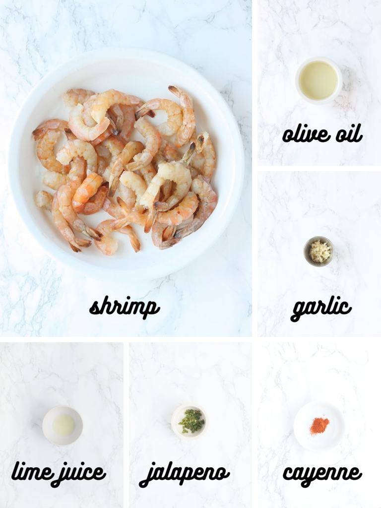 shrimp marinade ingredients include olive oil, minced garlic, lime juice, jalapeno pepper and cayenne pepper
