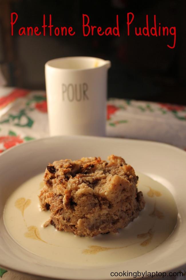 panettone bread pudding with vanilla bean creme anglais