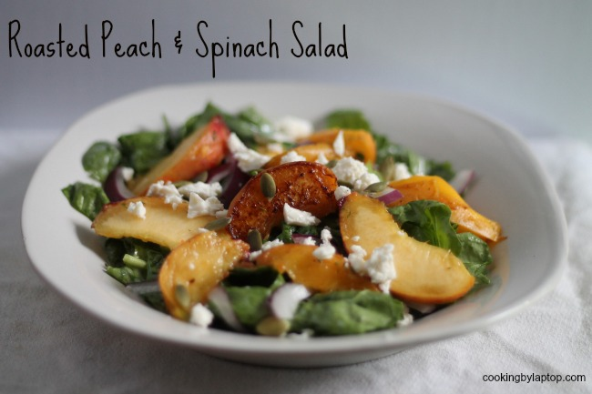 roasted peach and spinach salad