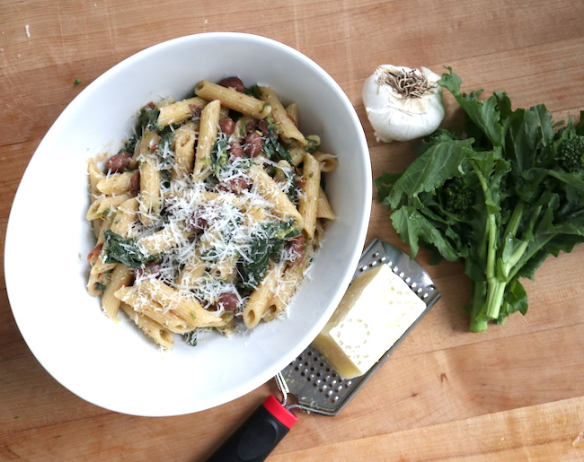 Rapini and Barlotti Bean Pasta