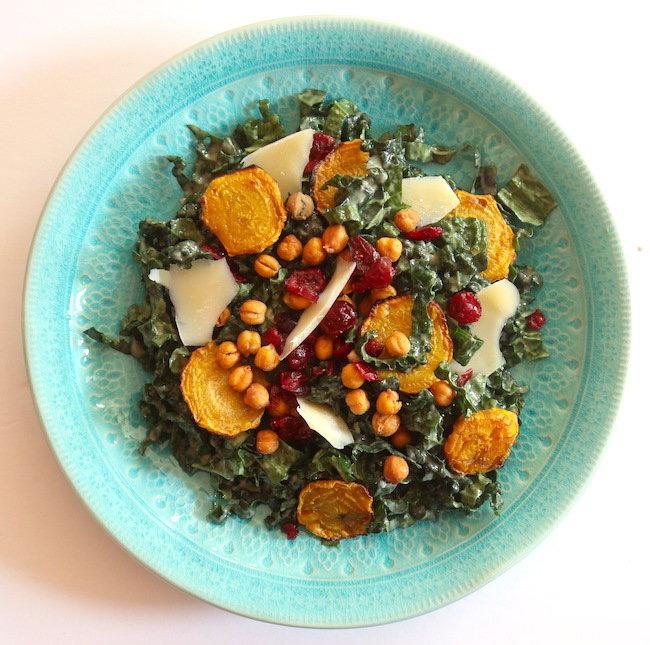 a colourful plate of kale salad
