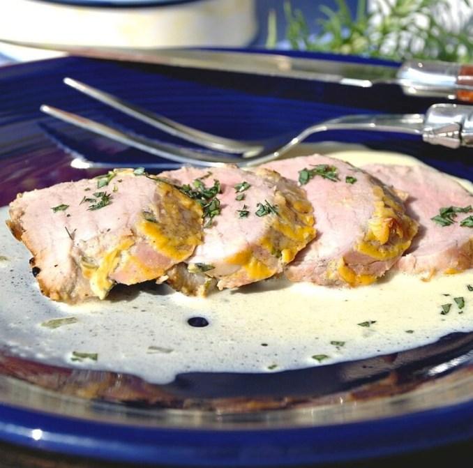 Dijon Mustard Pork Tenderloin with Tarragon Wine Sauce