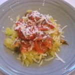 Spaghetti Squash with Roasted Tomatoes Basil and Parmesan