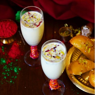 Thandai/ Milk flavored with almonds and spices