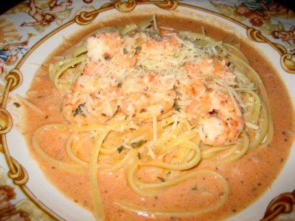 Shrimp Linguini with Vodka Cream Sauce