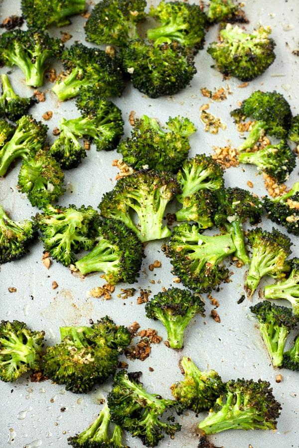 Broccoli Florets on a Sheet Pan