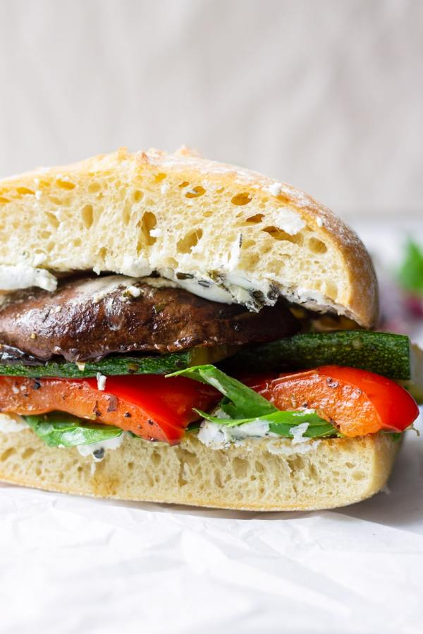 Grilled Portobello, Bell Peppers, and Zucchini Sandwich with Cheese