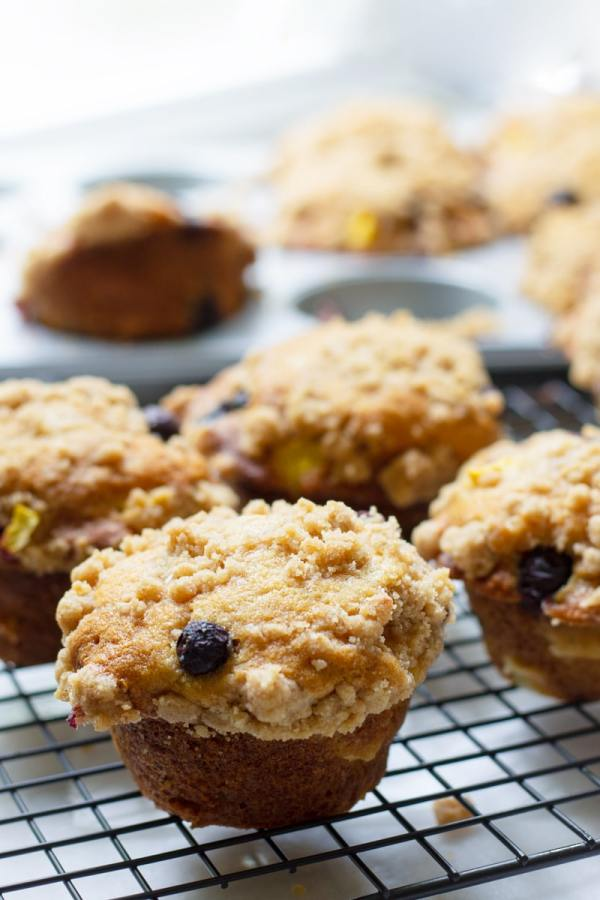 Streusel Blueberry and Peach Muffins Bakery Style