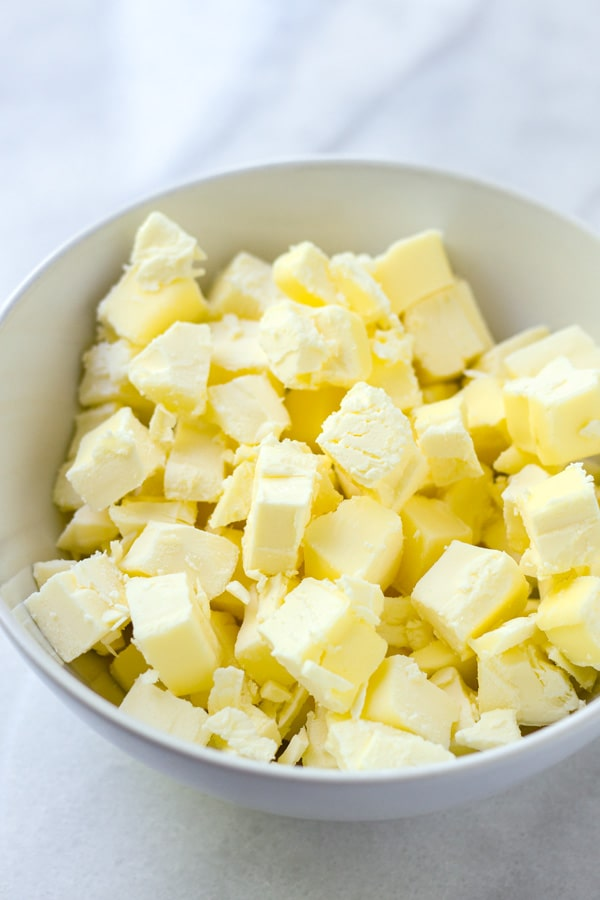 Cold Butter Cubes for Homemade Pie Crust
