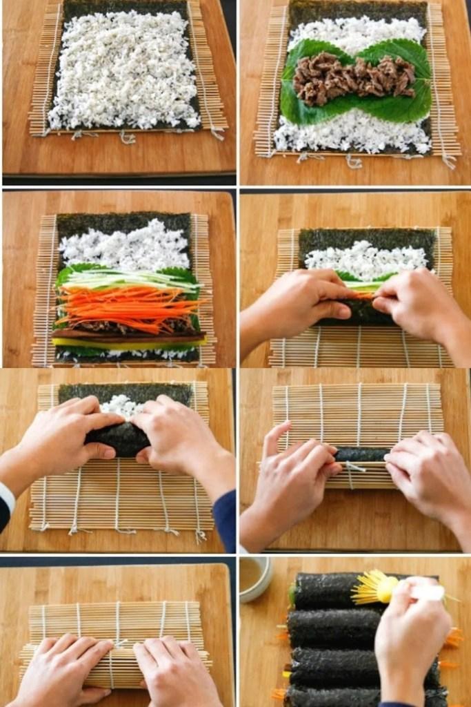 How to Make Beef Bulgogi Kimbap Sushi, Korean seaweed rice rolls that are filled with Bulgogi (Korean marinated BBQ beef)