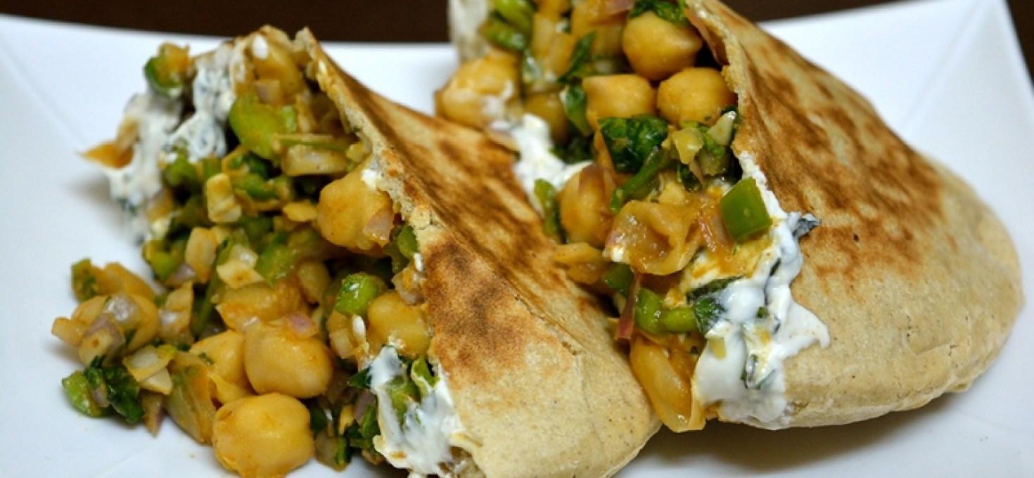 Greek Style Chickpea Salad Pita Pockets with Mint Yogurt Spread