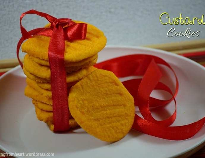 Eggless Custard Cookies | Easy Butter Cookies Recipe