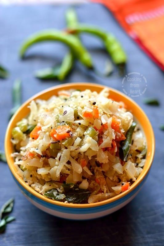 Cabbage Carrot Beans Poriyal (2)
