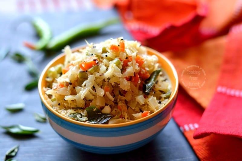 Cabbage Carrot Beans Poriyal (4)