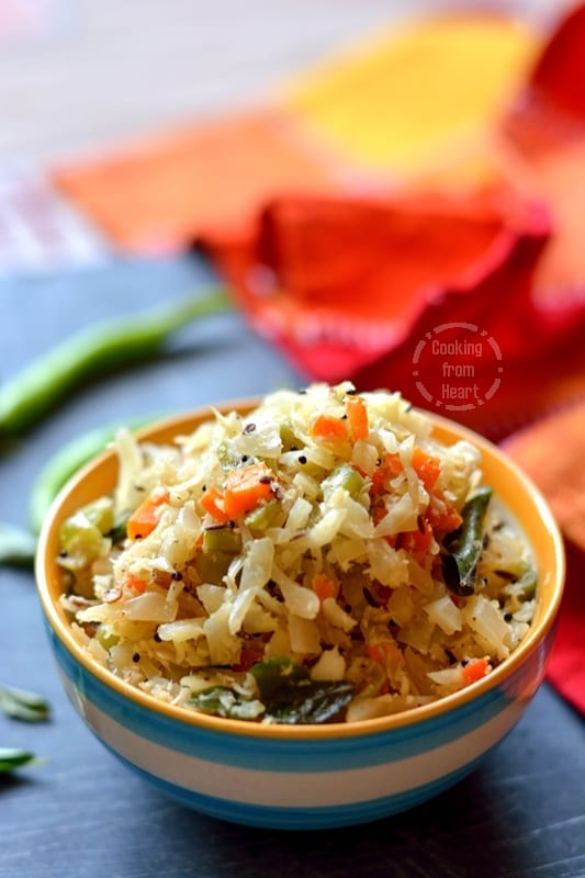 Cabbage Carrot Beans Poriyal (5)