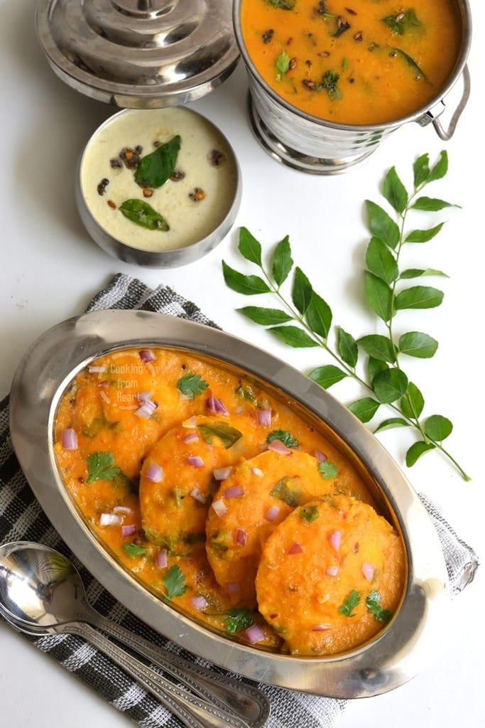 Ghee Sambar Idli Hotel Style Sambar Idli Cooking From Heart