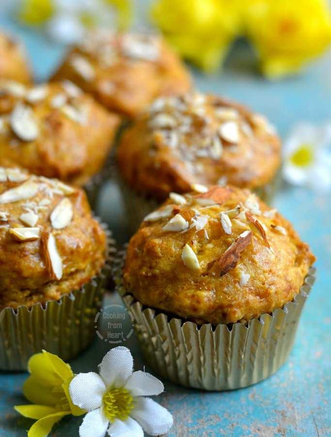 Eggless Mango Almond Muffins