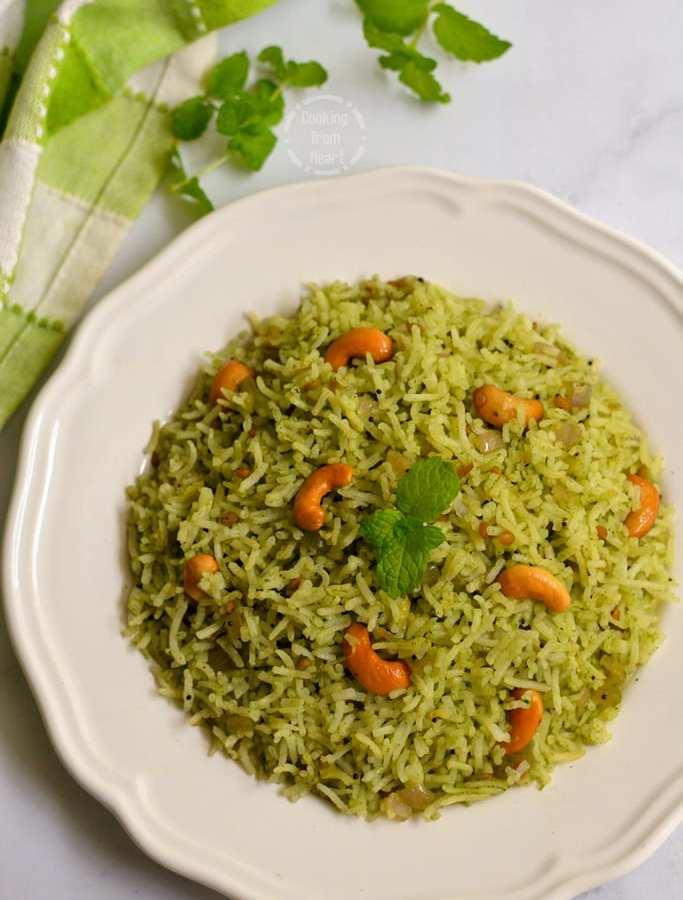 Pudina Rice | Mint Rice | Pudina Sadam