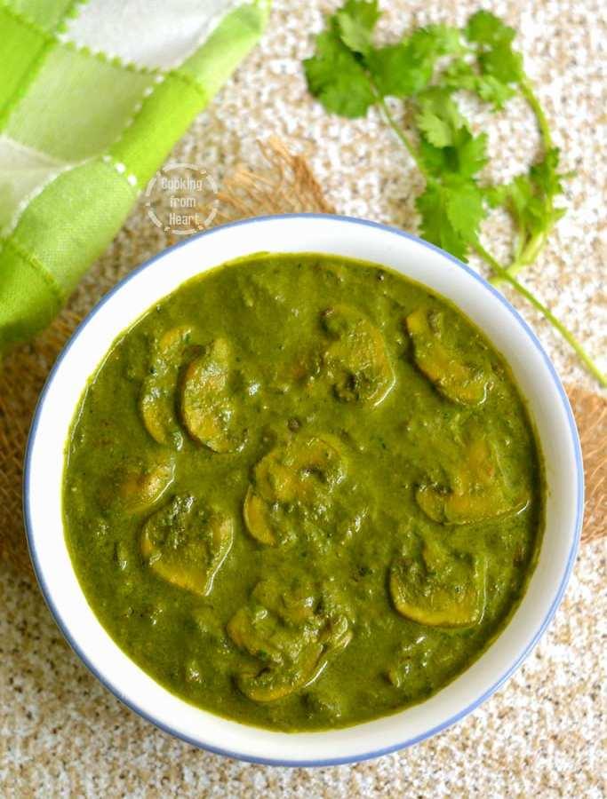 Palak Mushroom   Spinach Mushroom Curry