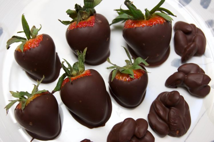 Chocolate Covered Strawberries and Nut Clusters