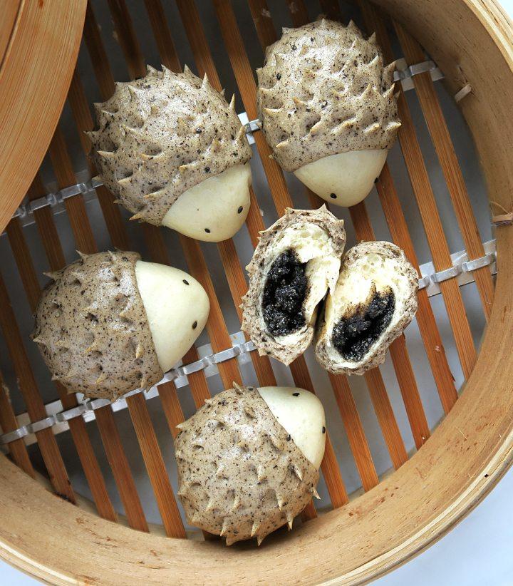 hedgehog black sesame bun zhi ma bao • cooking in chinglish