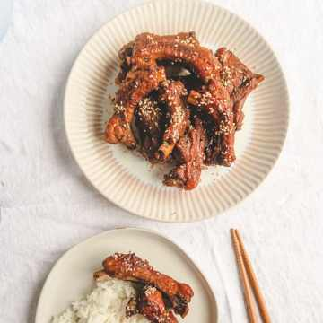 Chinese braised pork rib with rice.
