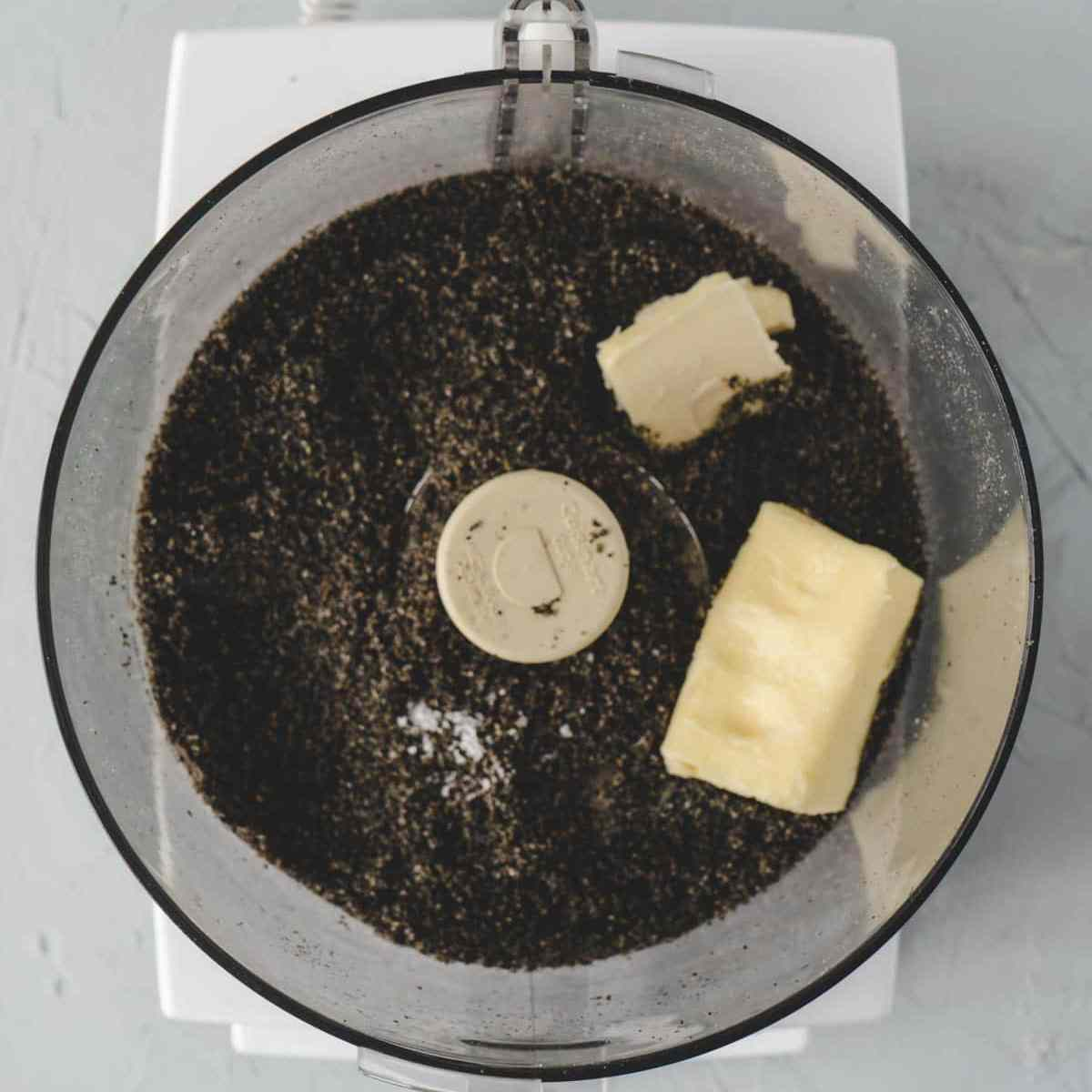 black sesame sugar mixture with a chunk of butter.