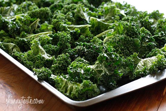 kale leaves on baking sheet