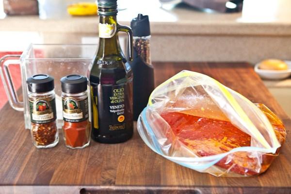 Marinating steak and ingredients