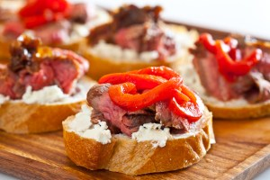 Flank Steak w/ Goat Cheese on Toast