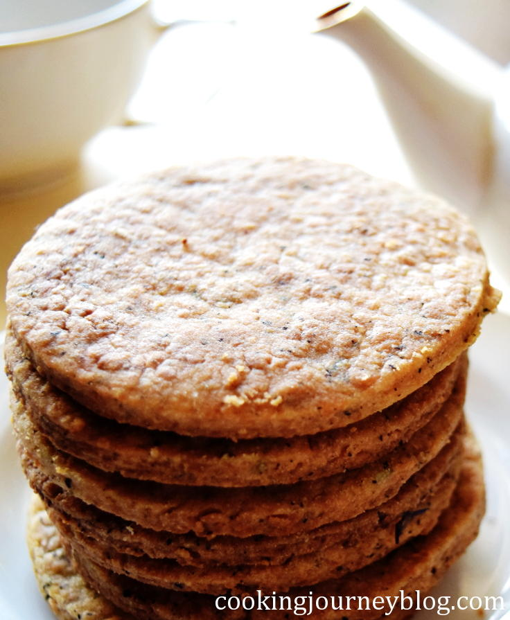 earl grey tea infused cookies, stacked on a plate