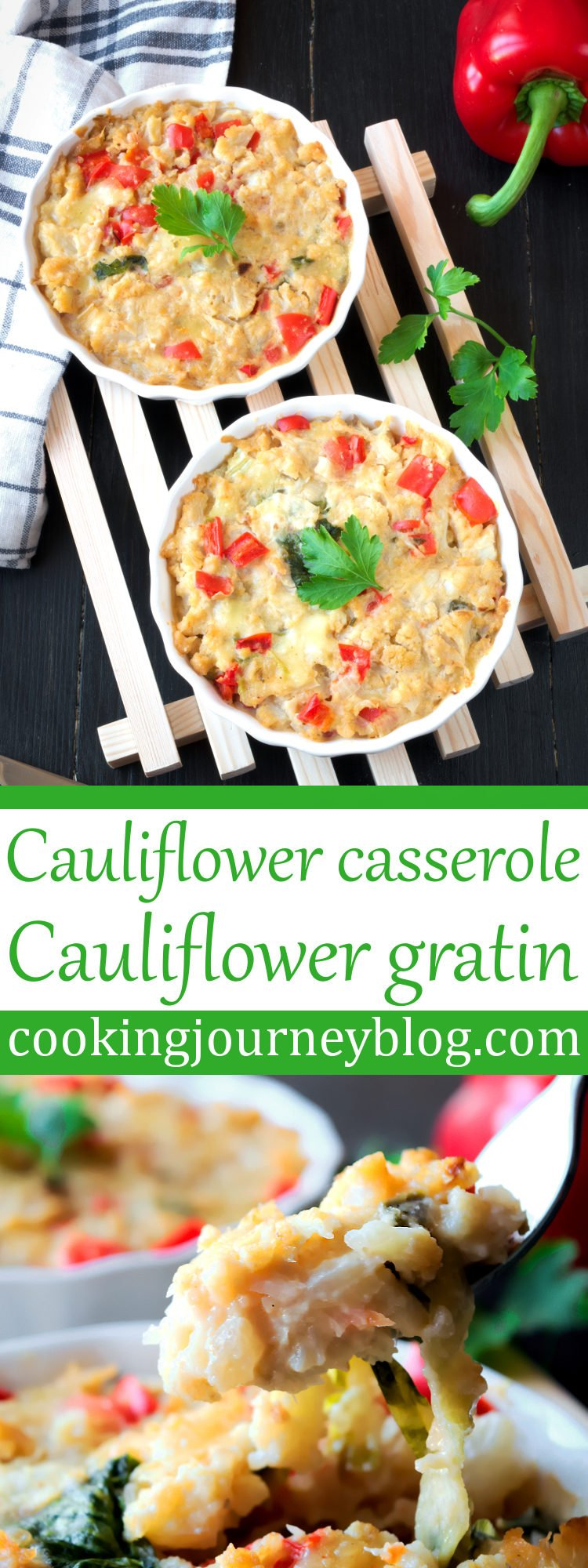 Cauliflower casserole in two individual baking dishes on a wooden rack. Cauliflower casserole or cauliflower gratin (cauliflower and cheese bake) is a great spicy dish for the dinner. It is easy and fast dinner recipe, yet full of flavor. Cauliflower and cheese are best partners, with addition of jalapeno to spice it up! There are so many cauliflower casserole recipes, this is a best side dish or a snack during cold winter months to enjoy.