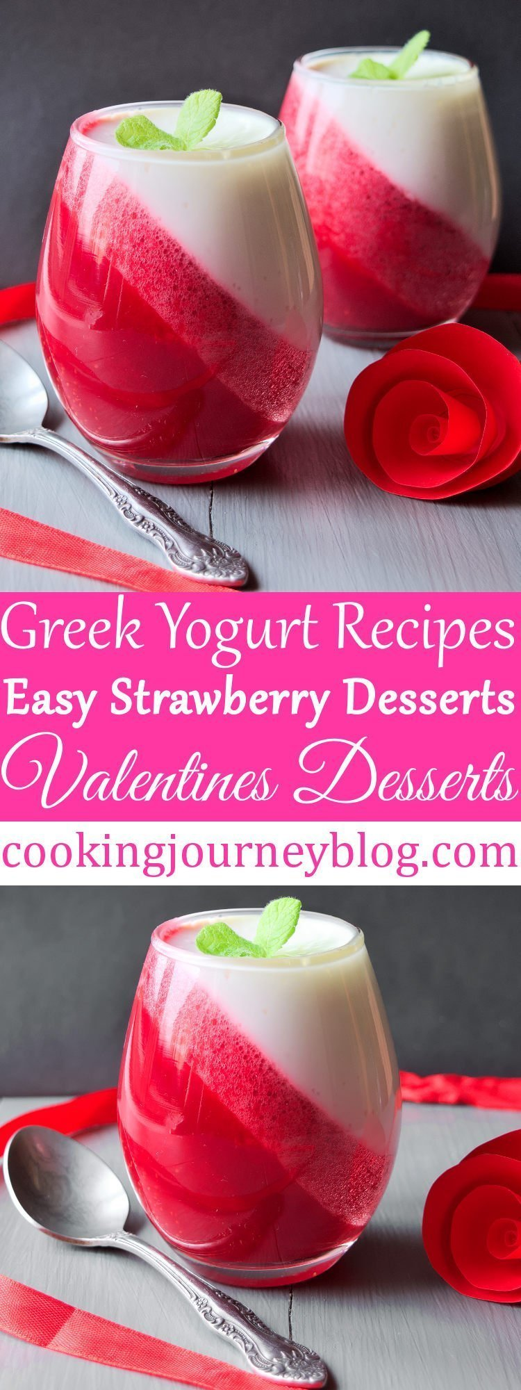 Easy strawberry desserts with magic, perfect valentine treats! I bet this is a cold dessert that you will want to make again. This dessert for two is one of healthy strawberry recipes to make for Valentines day or any other occasion or even for breakfast! Cooking Journey Blog