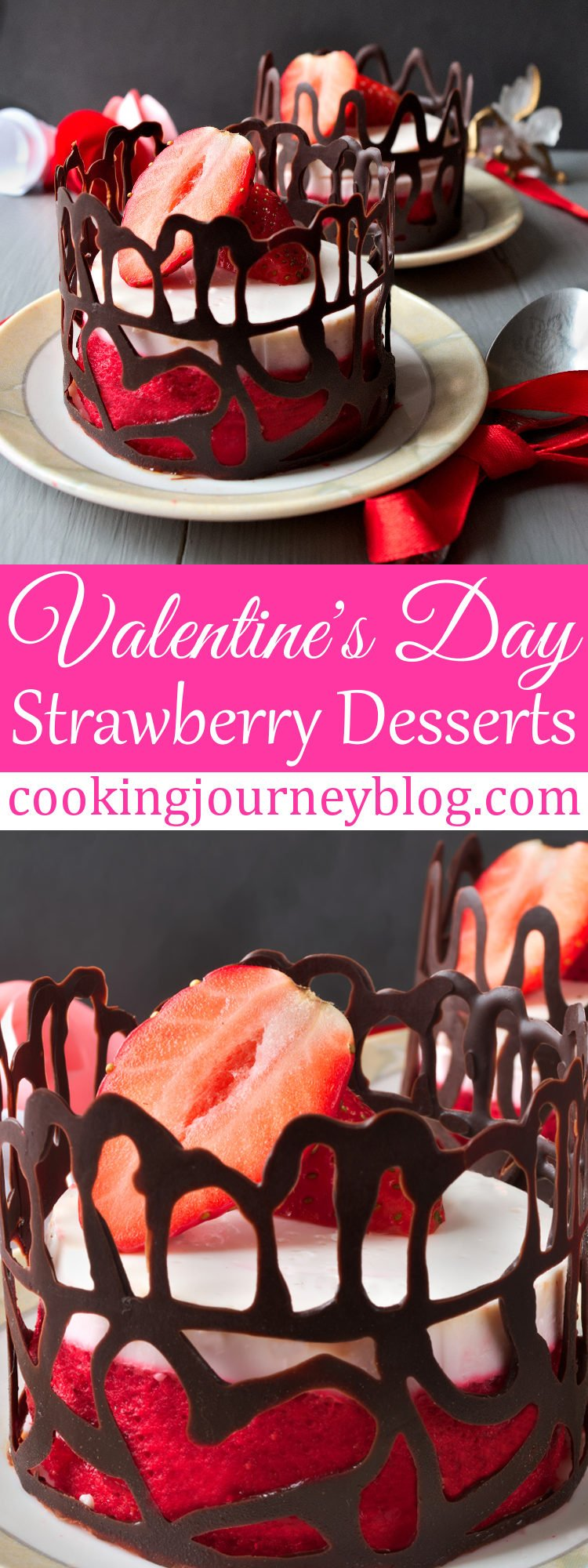 Strawberry desserts are so popular on Valentine's day! This is one of Valentines desserts that is healthy, tasty and easy to make. Surprise your loved ones with these elegant strawberry no bake desserts! #strawberrydessert #chocolate #valentines