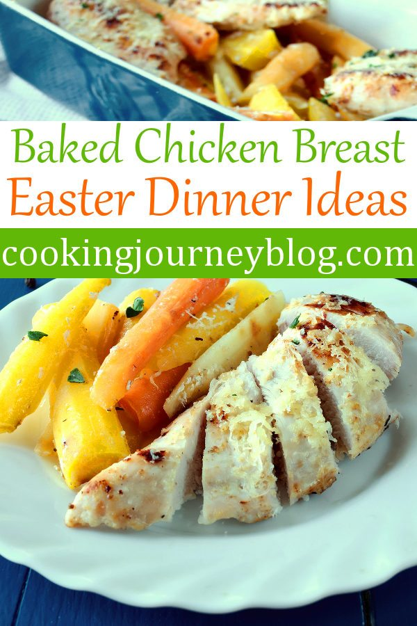 Baked chicken breast with roasted carrots is easy and delicious meal to have on your Easter dinner menu! Sweet glazed carrots with tender roasted chicken breast is one of my favorite Easter recipes. However, this easy baked chicken is a great healthy dinner idea for every day.#easter #dinner #dinnerrecipes #chickenrecipes #carrot