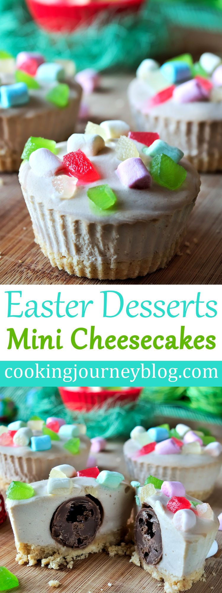 Get this mini cheesecake recipe to make easy and tasty Easter desserts! No bake cheesecake, that is topped with marshmallows and candied fruits, look pretty and also have a surprise inside. #easterrecipes #easter #desserts #surprise