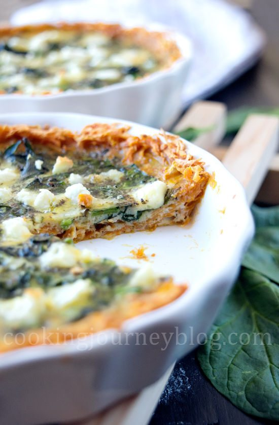 Spinach quiche with sweet potato crust. Front view.