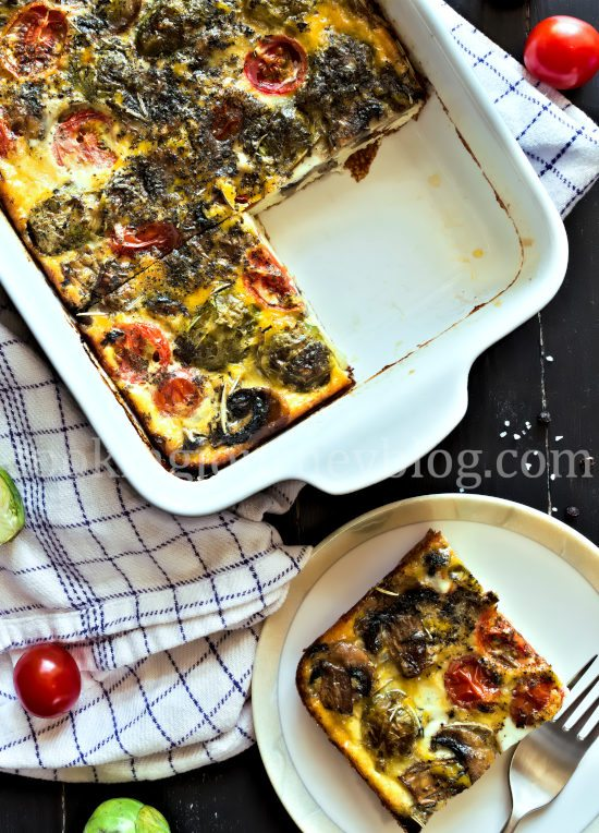 Breakfast frittata slice and baked frittata dish